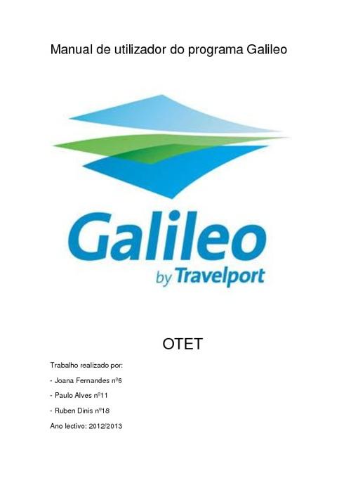 Manual de Utilizador Galileo 11ºTT