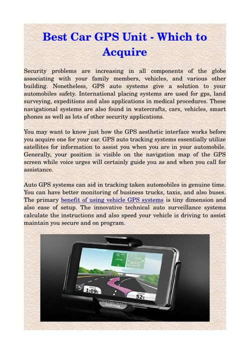 Best Car GPS Unit - Which to Acquire