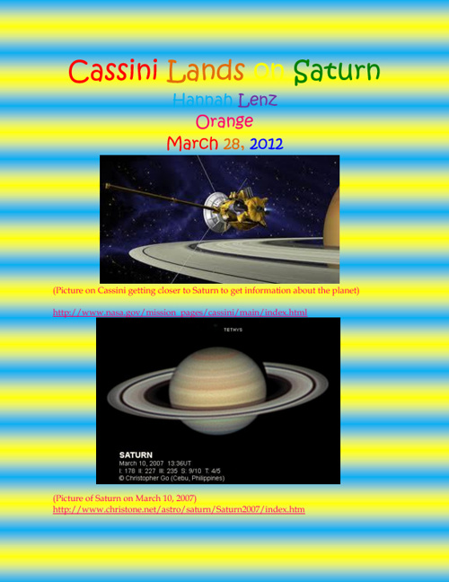 Cassini Lands On Saturn