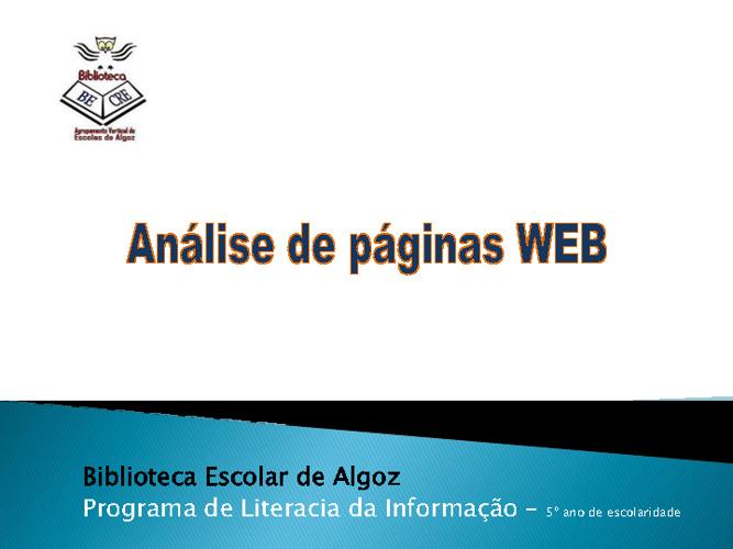 Análise de páginas Web