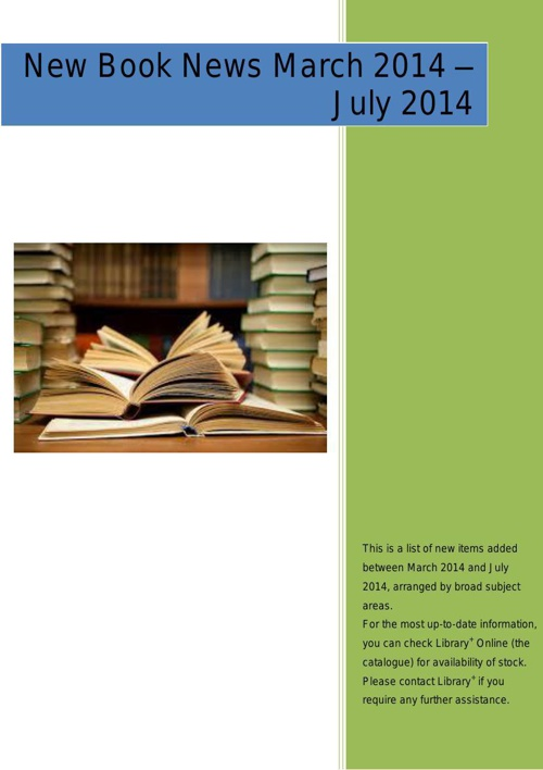 Library+ New Book News March to July 2014