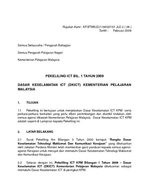 DASAR KESELAMATAN ICT (DKICT) KEMENTERIAN PELAJARAN MALAYSIA