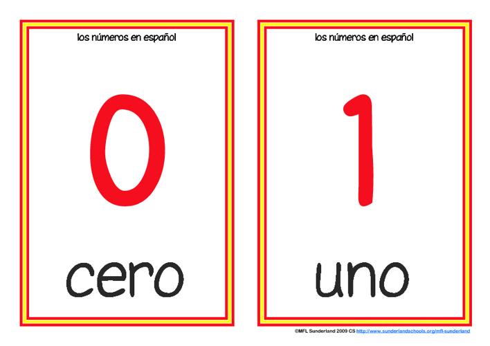 Spanish numbers 1-12