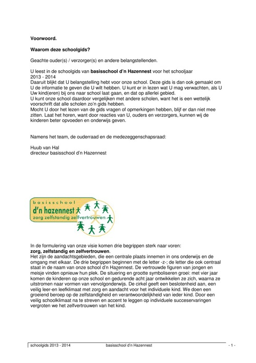 D'n Hazennest Schoolgids 2013-2014