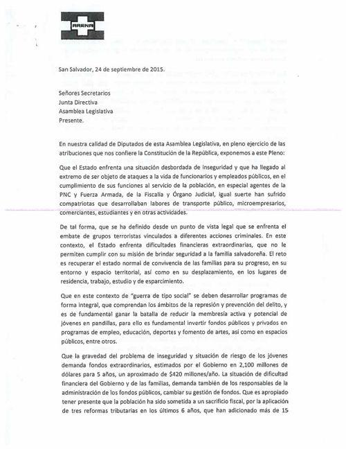 ARENA PROPONE CREACIÓN DE COMISIÓN AD-HOC PARA ESTUDIO DE PL