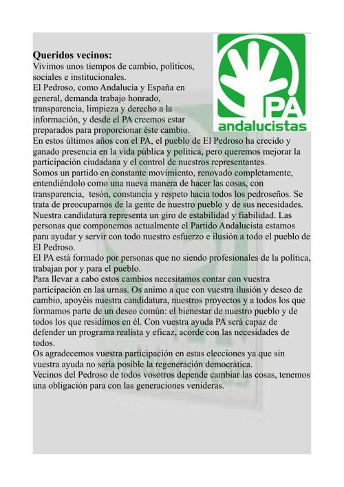 PROGRAMA ELECTORAL PARTIDO ANDALUCISTA DE EL PEDROSO