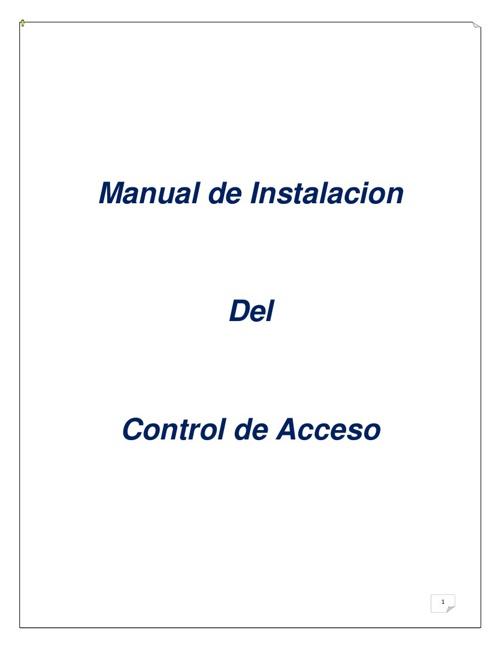Manual De Control de Acceso