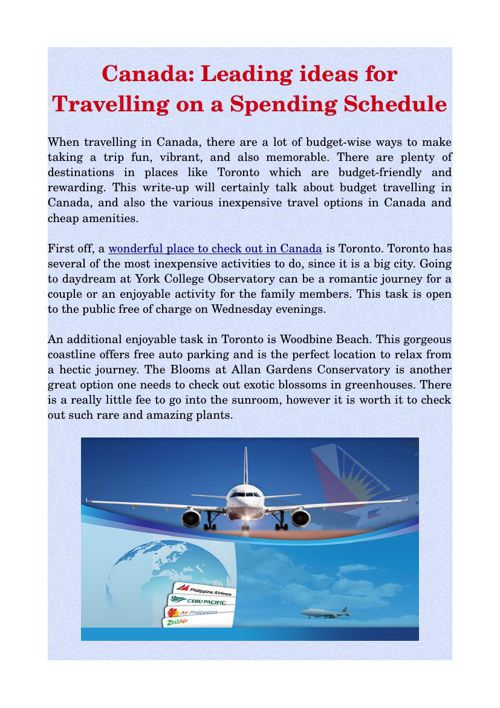 Canada: Leading ideas for Travelling on a Spending Schedule