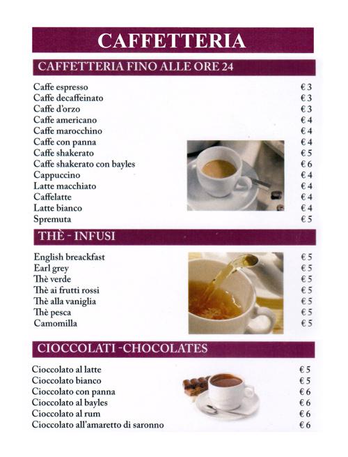 Menu caffetteria