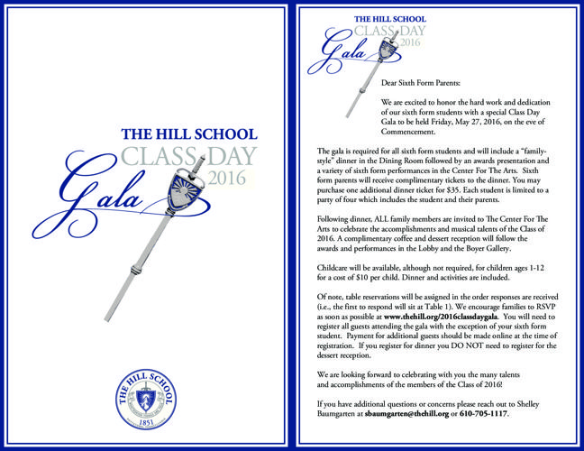 2016 Class Day Gala and Commencement Invite