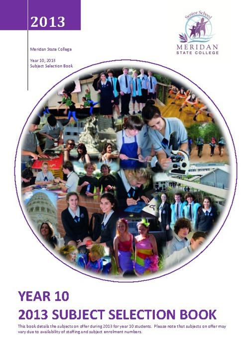 Yr 10, 2013 Subject Selection Book