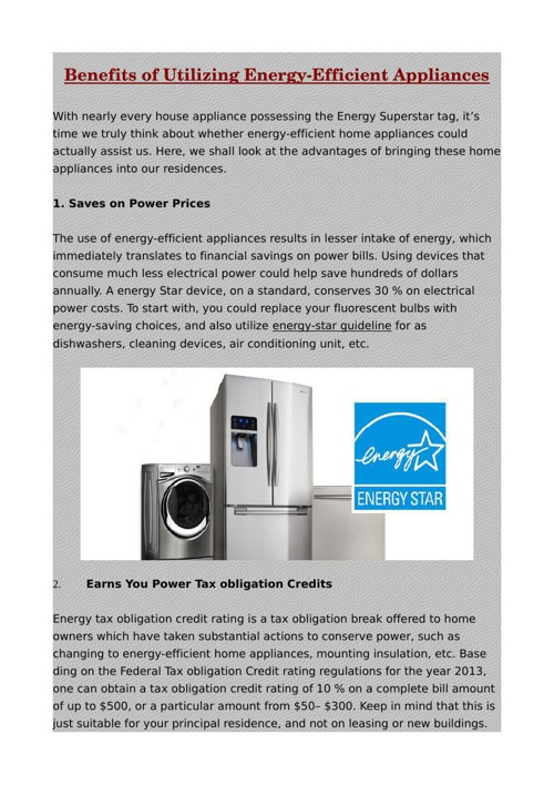 Benefits of Utilizing Energy-Efficient Appliances