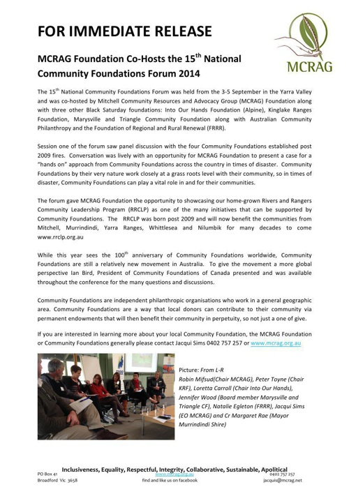 MCRAG Community Foundation Forum Media Release 160914