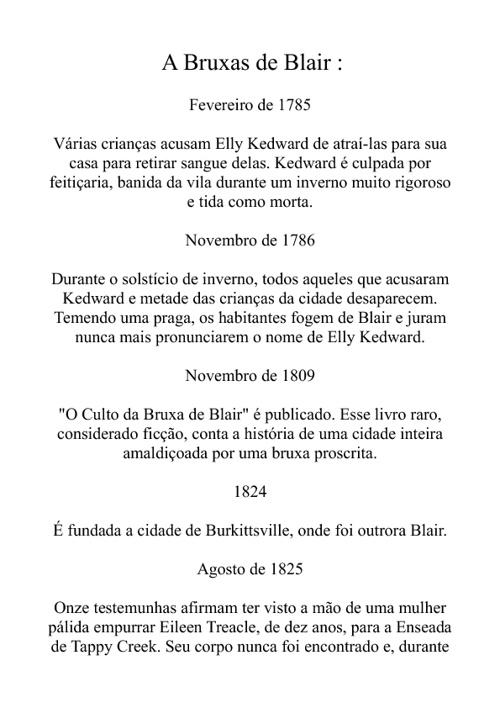 Cronologia da Bruxa de Blair