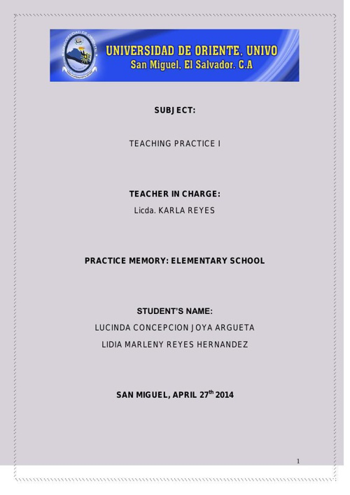 teaching practice I memory