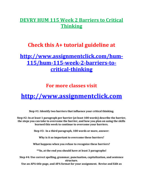DEVRY HUM 115 Week 2 Barriers to Critical Thinking
