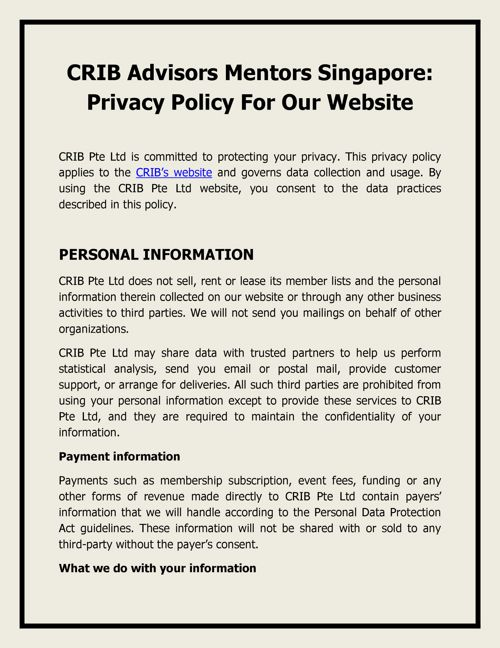 CRIB Advisors Mentors Singapore - Privacy Policy for our Website