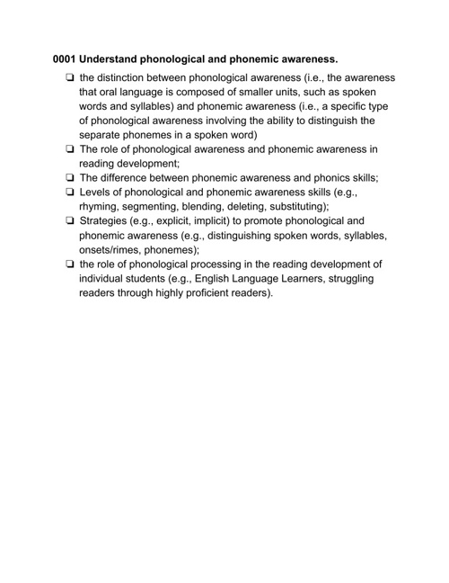 Foundations of Reading MTEL Objectives
