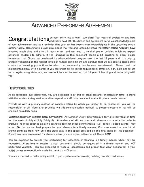 2018 Performer Agreement