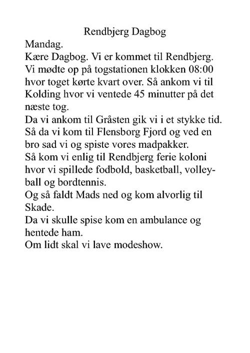 Sebastian's >Rendbjerg Dagbog