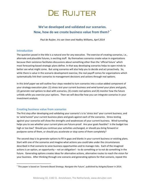 Scenarios -- Real Options Create Values
