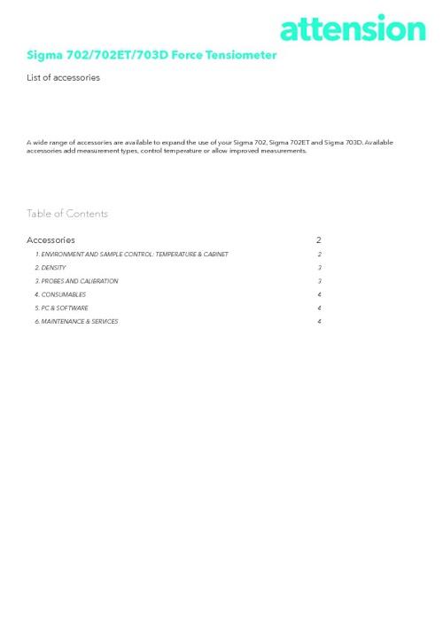 Attension Sigma 702/702ET/703D Accessories