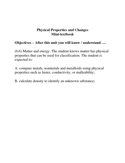 6th Physical Properties and Change 2010