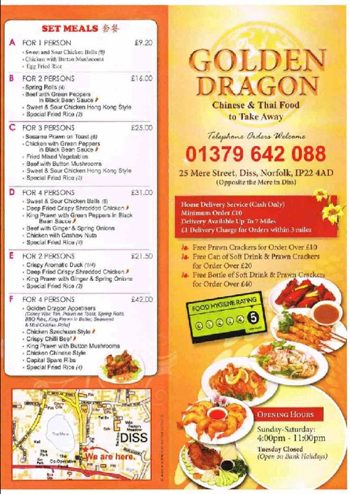 Golden Dragon Menu