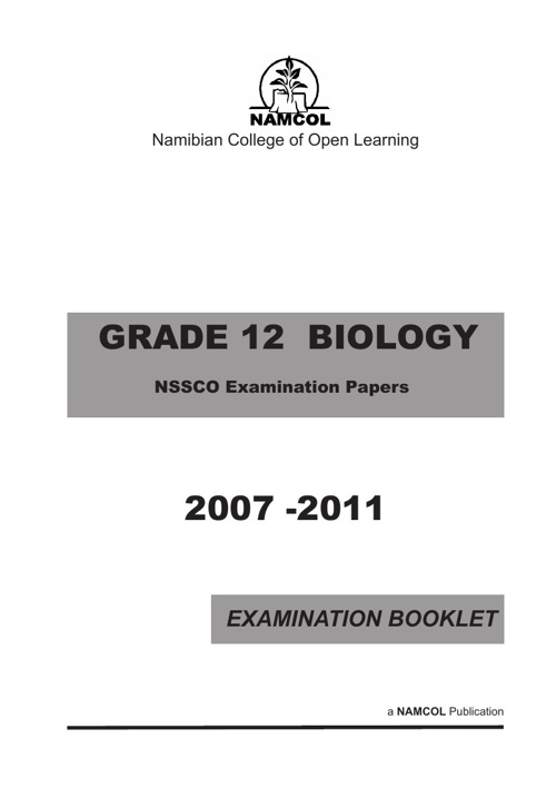 NSSCO BIOLOGY EXAMINATION PAPERS 2007- 2011