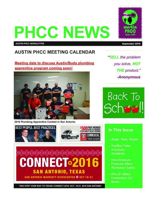 AUSTIN PHCC September 2016 Newsletter