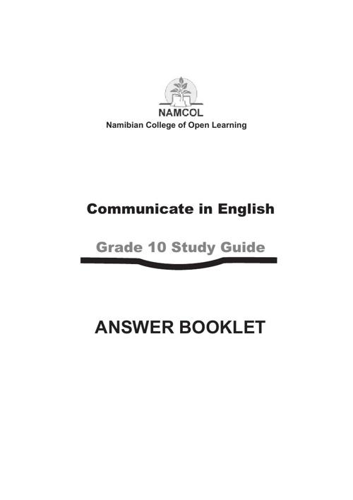JSC English 2nd Language Answer Booklet