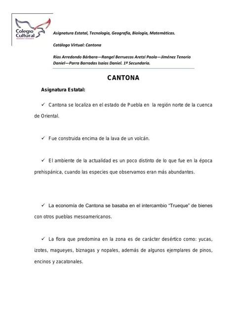 Catálogo cantona