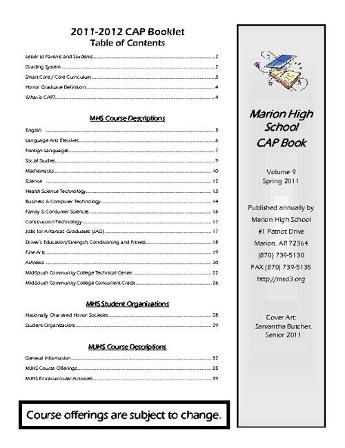 Marion High School Career Action Planning (CAP) Book