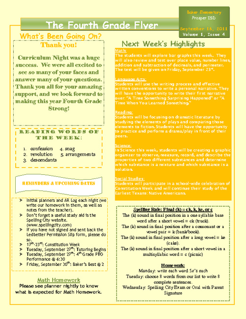 4th Grade Newsletter 9/19-9/23