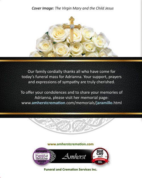 Memorial Card for Adriana Jaramillo