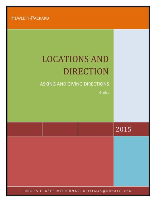 BOOKLET LOCATIONS AND DIRECTIONS