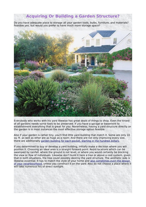 Acquiring Or Building a Garden Structure