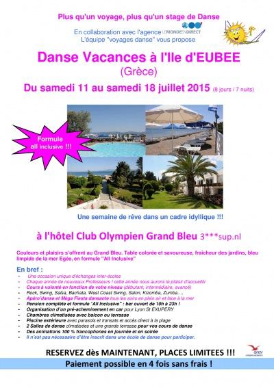 Voyage danse vacances Ile d'Eubée du 11 au 18 juillet 2015