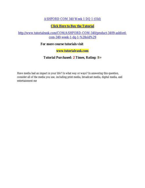 ASHFORD COM 340 learning consultant / tutorialrank.com