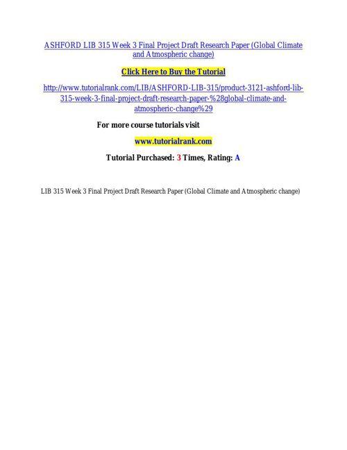 ASHFORD LIB 315 Week 3 Final Project Draft Research Paper