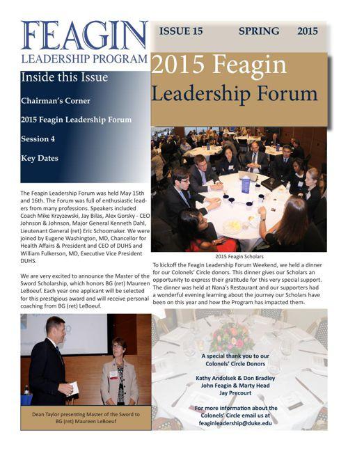 Feagin Leadership Spring Newsletter 2015