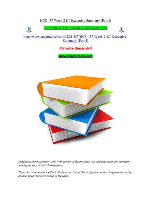 HCS 437 Week 2 LT Executive Summary (Part I)