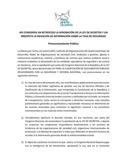 Pronunciamiento APJ 2014