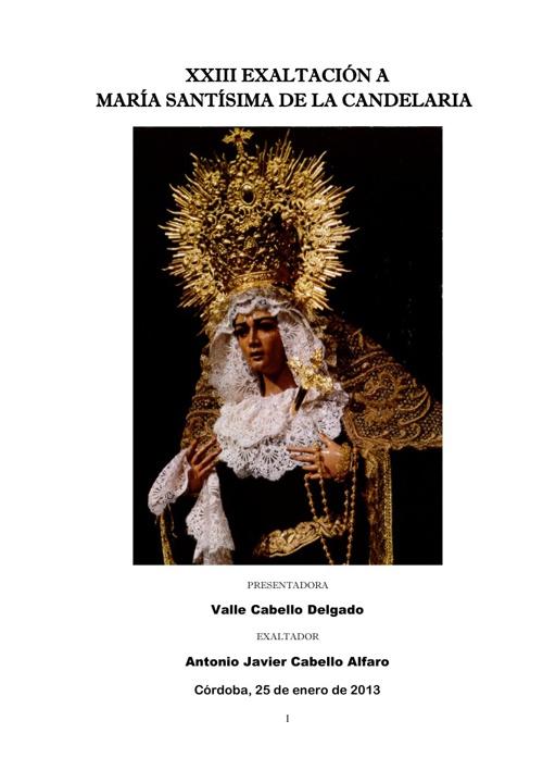 XXIII EXALTACIÓN MARÍA SANTÍSIMA DE LA CANDELARIA (CÓRDOBA)