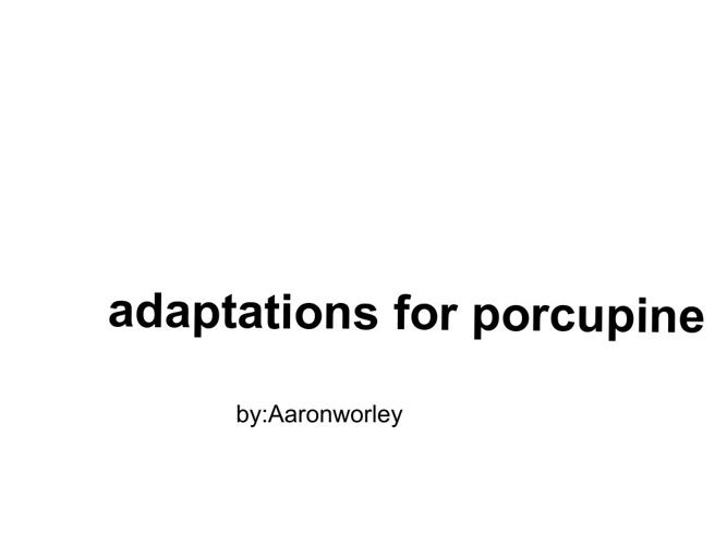 porcupine adaptations