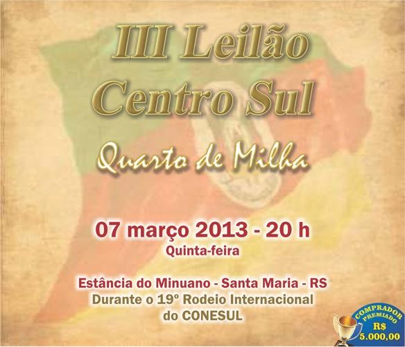 III LEILÃO CENTRO SUL QUARTO DE MILHA
