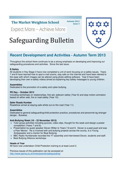 Safeguarding Bulletin Issue 3