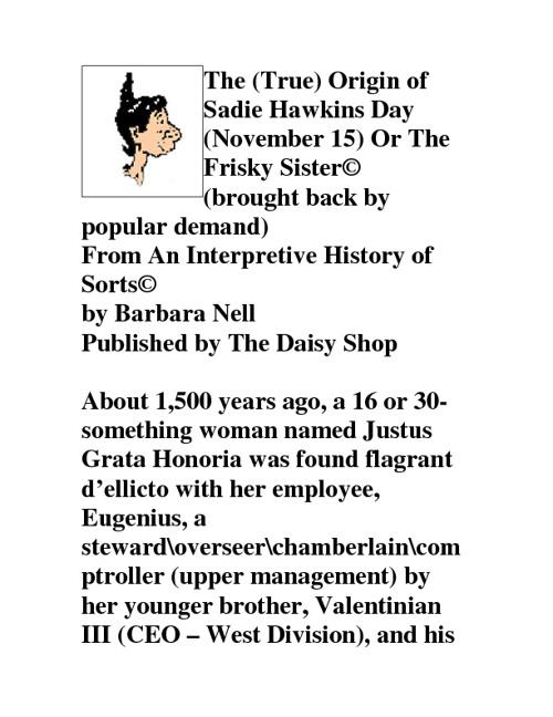 The Origin of Sadie Hawkins Day or The Frisky Sister