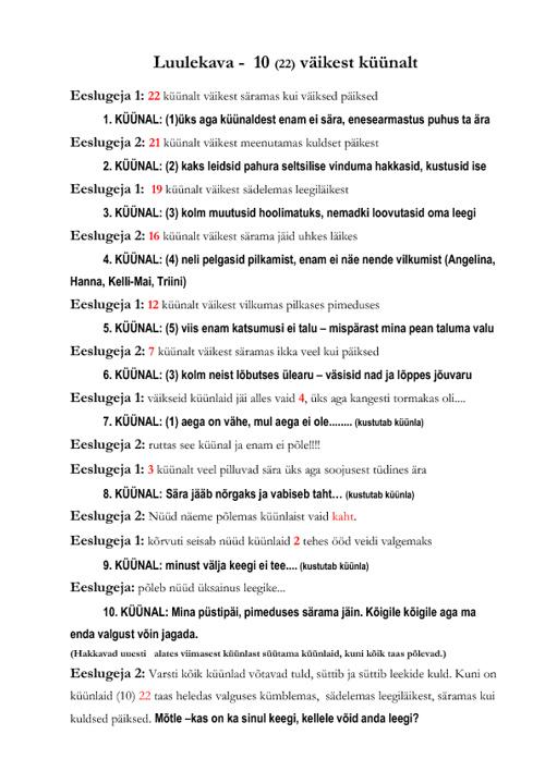 LUULEKAVA 10 VÄIKEST KÜÜNALT