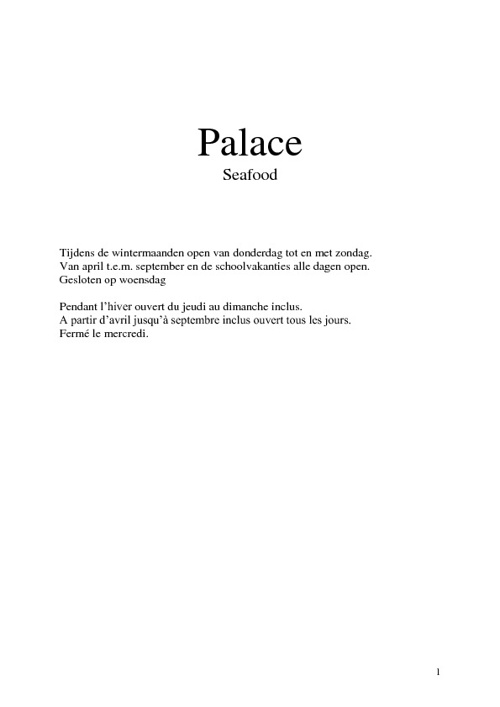 Palace Seafood Menu